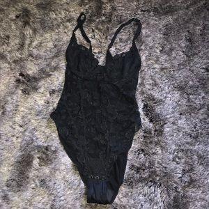 La perla 2 vintage black lace floral bodysuit 34/m
